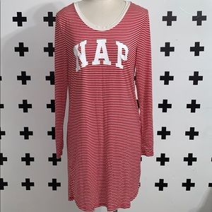 """Gap """"NAP"""" red and white stripes night gown"""